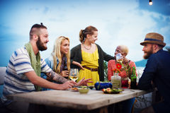 Diverse Summer Beach Party Roof Top Fun Concept Royalty Free Stock Photography