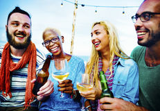 Diverse Summer Beach Party Roof Top Fun Concept Stock Image