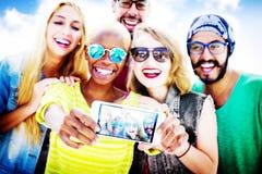 Diverse Summer Friends Fun Bonding Selfie Concept Stock Photo