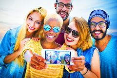 Diverse Summer Friends Fun Bonding Selfie Concept Stock Images