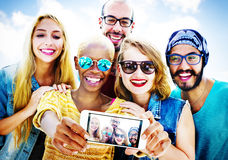 Diverse Summer Friends Fun Bonding Selfie Concept Stock Image