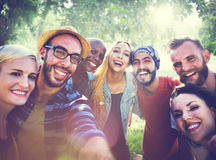 Diverse Summer Friends Fun Bonding Selfie Concept Stock Photos