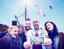Diverse Summer Friends Fun Bonding Smart Phone Concept Royalty Free Stock Photo