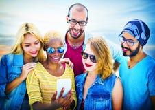 Diverse Summer Friends Fun Bonding Smart Phone Concept Stock Photos