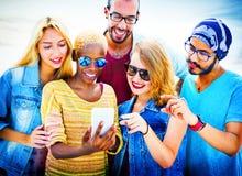 Diverse Summer Friends Fun Bonding Smart Phone Concept Stock Images
