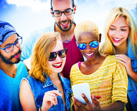 Diverse Summer Friends Fun Bonding Smart Phone Concept Stock Photos