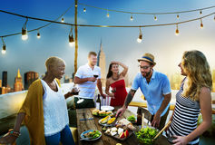 Diverse Summer Party Rooftop Fun Concept Stock Photos