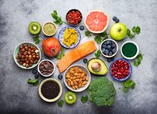 Diverse superfoodsselectie stock foto