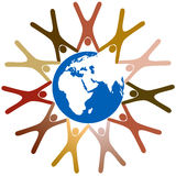 Diverse symbol people hold hands around earth. Diverse group of symbol people hold hands in a ring around planet earth Royalty Free Stock Photography