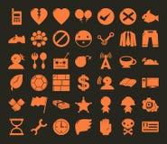 Diverse symbolsymbolsuppsättning ingen ram för rengöringsduken och mobilen #01 Royaltyfri Bild