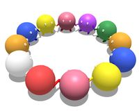 A diverse team. A 3d illustration of a diverse team of individuals holding hands in a circle Stock Photography