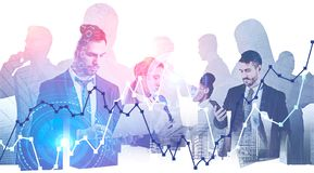 Diverse team of business consultants in city stock images