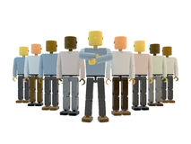 Diverse team with leader. Illustration of diverse team with leader at front Stock Photography