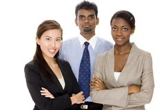 Diverse Teamwork. A diverse business team of two women and one man Stock Photos