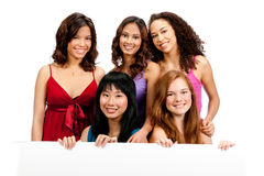 Diverse Teenagers with Blank Sign Stock Photo