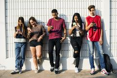 Free Diverse Teenagers With Their Mobile Phones Stock Photos - 114744393