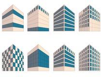 Diverse tekens van gebouwen in perspectief royalty-vrije illustratie