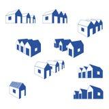 Diverse tekens van groep plattelandshuisjes royalty-vrije illustratie