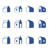 Diverse tekens van plattelandshuisjes in perspectief stock illustratie