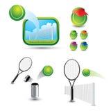 Diverse tennisscènes en schoten Stock Foto