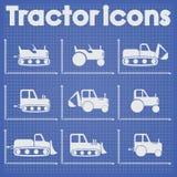 Diverse Tractor en Bouw de vastgestelde gestileerde blauwdruk van het Machinespictogram Stock Afbeelding