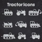 Diverse Tractor en Bouw het vastgestelde gestileerde bord van het Machinespictogram Stock Afbeeldingen