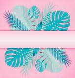 Diverse turkooise blauwe tropische bladeren met exemplaarruimte voor uw ontwerp op pastelkleur doorboren achtergrond Creatieve la vector illustratie