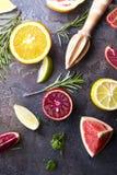 Diverse types van citrusvruchten Stock Foto's