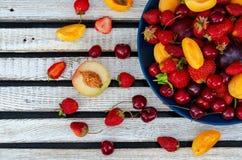 Diverse types van citrusvruchten op een donkere achtergrond stock afbeeldingen