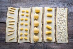 Diverse types van deegwaren op lasagnabladen Stock Afbeeldingen