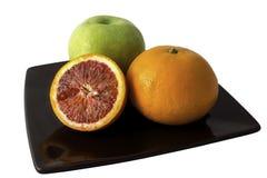Diverse types van fruit op witte achtergrond stock foto's