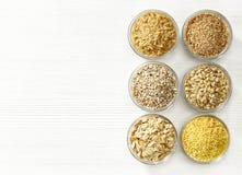 Diverse types van graankorrels Stock Fotografie