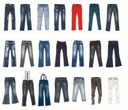 Diverse types van jeansbroek Stock Afbeeldingen