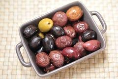 Diverse types van olijven Stock Fotografie