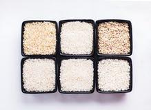 Diverse types van rijst stock afbeelding