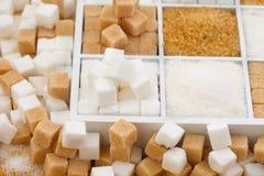 Diverse types van suiker Stock Foto