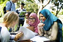 Diverse university teenager studying outdoor Stock Image