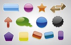 Diverse vector badgets, Web 2.0 stijl Stock Afbeeldingen