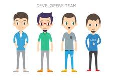 Diverse Vector People Set. Men, Different poses. Flat Cartoon St Stock Photo