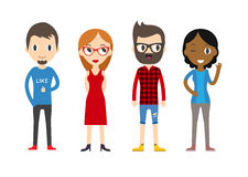 Diverse Vector People Set. Men and women, Different poses. Flat Royalty Free Stock Images