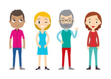 Diverse Vector People Set. Men and women, Different poses. Flat Royalty Free Stock Image
