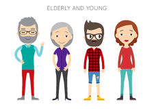 Diverse Vector People Set. Men and women, Different poses. Flat Stock Photo