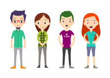 Diverse Vector People Set. Men and women, Different poses. Flat Royalty Free Stock Photos