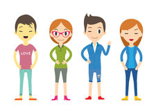 Diverse Vector People Set. Men and women, Different poses. Flat Royalty Free Stock Photo