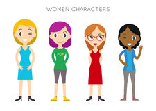 Diverse Vector People Set. Women, Different poses. Flat Cartoon Royalty Free Stock Image