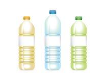 Diverse vector plastic flessen Stock Fotografie