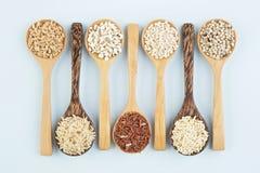 Diverse verscheidenheden van rijst en wholegrains in lepel op houten lusje stock fotografie