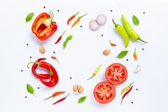 Diverse verse groenten en kruiden op witte achtergrond stock fotografie