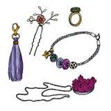 Diverse versieringen: ring, Pandora-armband, tegenhanger, haarspeld, keychain met leeswijzer, vectorillustratie royalty-vrije illustratie