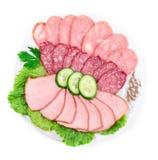 Diverse viande avec le poivre sur le plat Images libres de droits